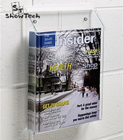 Outdoor clear 8.5 x 11 magazines acrylic literature holder for wall with lid