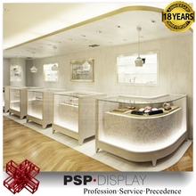 Modern design wooden glass cosmetic display stand retail shopshowcase furniture for makeup store in shopping mall
