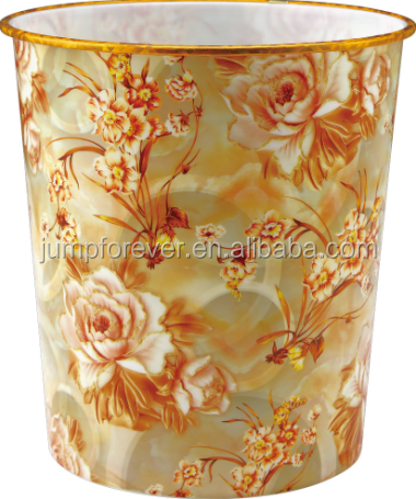 New flower design practical household plastic trashbins