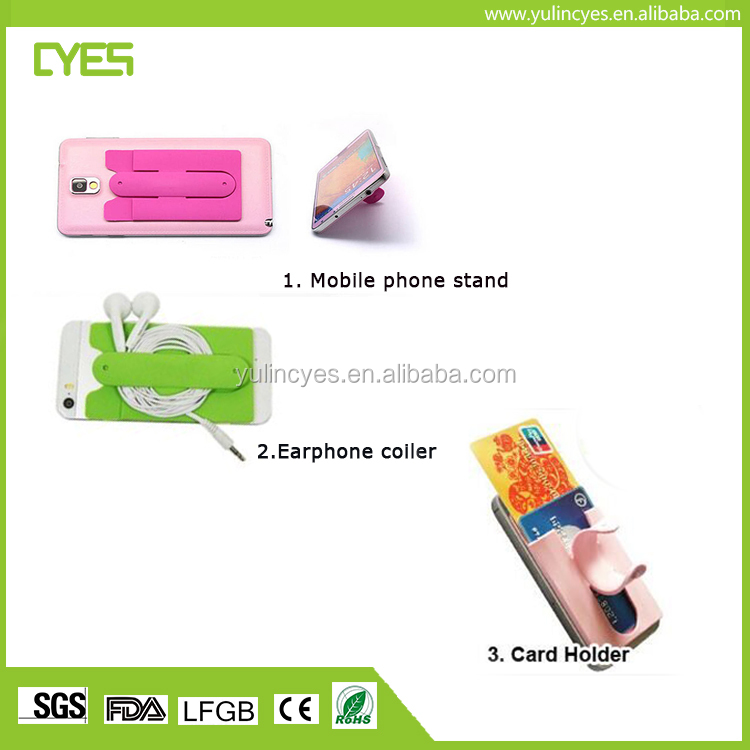 Factory Price Colorful Self Adhesive Silicone Cell Phone Wallet Card Holder with Stand