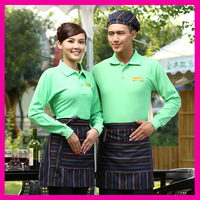 Cafe Restaurant wholesale uniforms for waiter and waitress Apron Long Sleeves Polo Shirt
