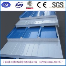 Continuous production line of rigid polyfoam sandwich panel