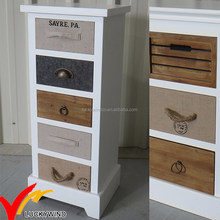 5 Drawers Small Wooden Antique White Side Cabinet