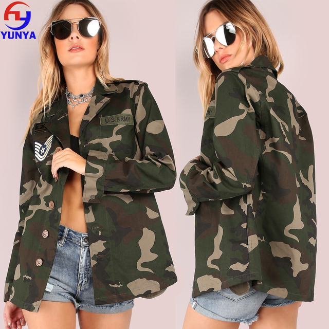 Latest fashion camo designs high quaily patch button down women camouflage jacket