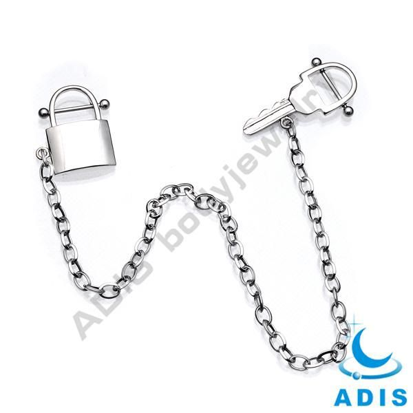 Lock-Key Dangle Chain Upper Ear Stud Tragis Helix Cartilage Earring