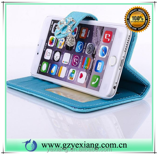 New products mobile phone accessories camelia pendant stand leather case for iphone 4 pu leather wallet flip cover
