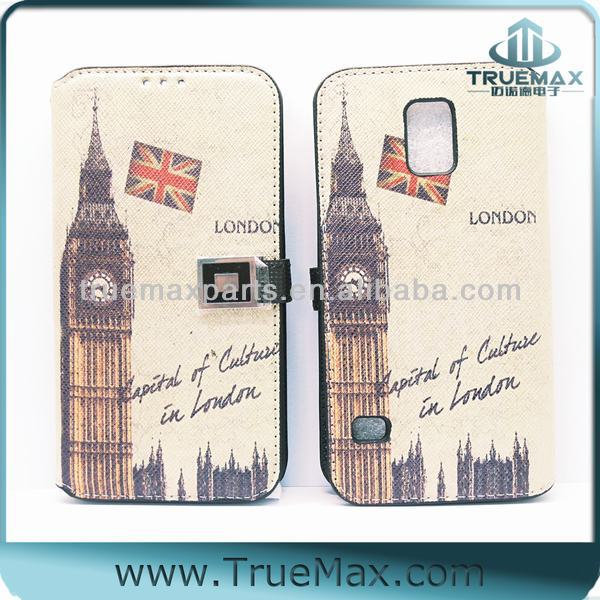 New scenery Case for Samsung S5, Leather Skin Cover for Samsung