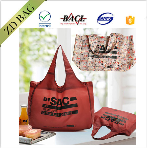 Fashion waterproof polyester folding high-capacity shopping bag