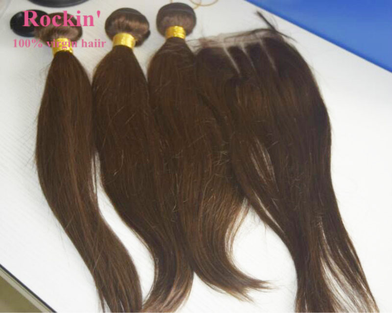 1-2 day shipping natural Straight brazilian hair bundles color 4