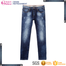 High quality skinny design distressed leg hand brushed lycra jeans mens denim jeans