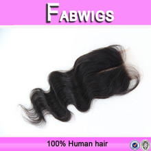 Fabwigs FH084 Grade 7A Top quality instock natural color body wave 100% peruvian virgin hair lace closure