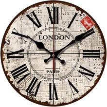 "12"" Vintage Roman Numeral Newspaper Background Design English Shabby Chic Style Wooden Decorative Round Wall Clock"