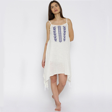 Plus size women comfortable long white embroidered design india cotton nighties
