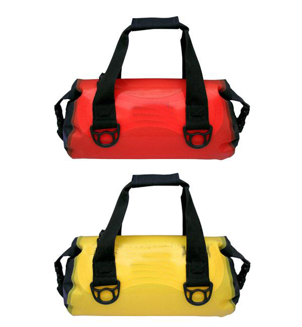 Waterproof dry bag with roll top and shoulder straps