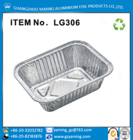 foil container 250ml aluminium foil vertical edge flange take out food container with paper lid