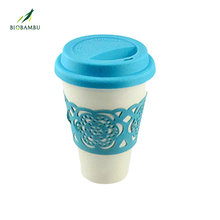 Promotional Gifts Elegant Biodegradable Eco-friendly New Coming Bamboo Fiber Cup With Lid
