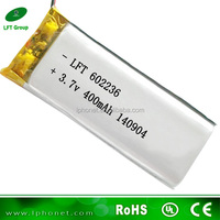 602236 fast delivery 400mah 3.7v li-ion battery/small li-po battery for water meters