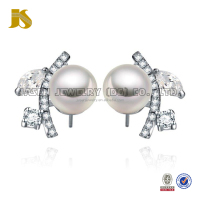 Silver Plating Faceted Anniversary single stone earring designs