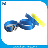 Blue Leather Dog Leash and Collar with metal clips