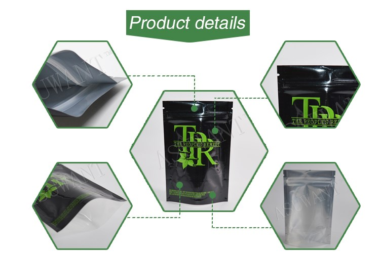 china wholesale custom printing gram, ounce, pound smell proof edible cannibis bag