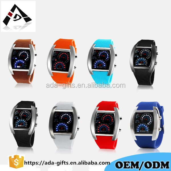 digital LED aviator watch turbo car led silicone watch men women car led sport watch