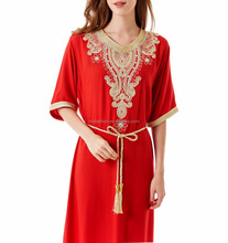 Muslim women short sleeve Dubai Dress maxi abaya jalabiya islamic women dress clothing robe kaftan Moroccan fashion embroidey