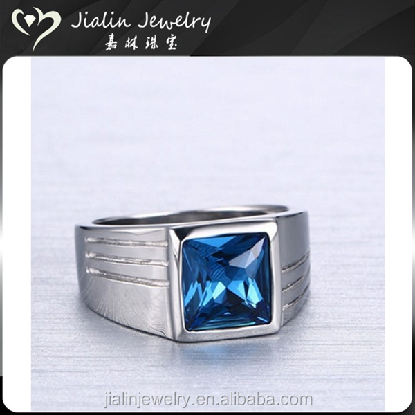 China jewelry factory stainless steel mens blue crystal diamond ring