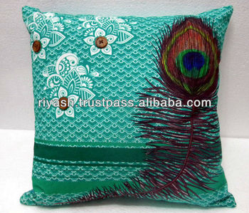 Peacock Feather Artwork Image Printed t - Cotton Cushion Cover - 40 Cm. Sq.