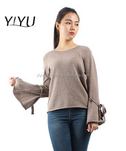 customized spring autumn sweater women loose crewneck bandage sleeve knitwear jumper
