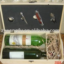 raw wood wine bottle box