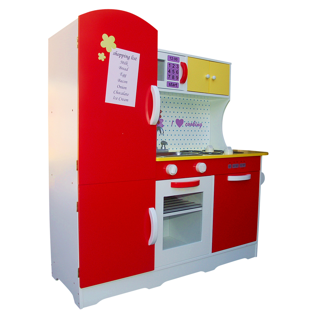 Unique wooden red white kids pretend play kitchen fridge for Kids kitchen set sale