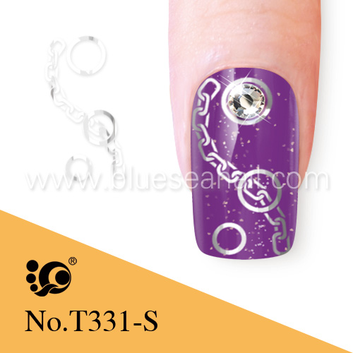 high quality metallic nail art stickers chain designs