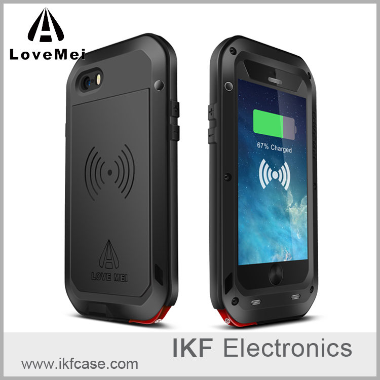 Love Mei Powerful Energy Wireless Charging Receiver Design Protective Metal Aluminum Case for iPhone 5 5S