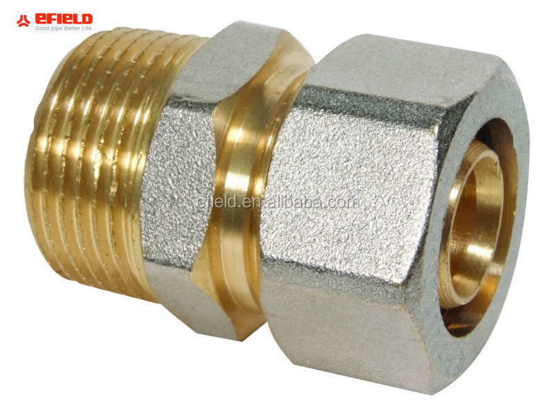 Male 1/2,3/4,1,1 1/4 Inch Brass Compression fittings for PE(X)-AL-PE(X)