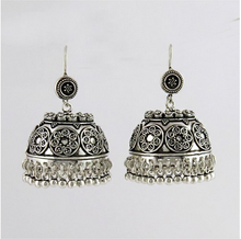 Lovely Oxidized Plain Silver 925 Sterling Silver Jhumka Earrings, Indian Jewelry Manufacturer, Silver Jewelry Supplier