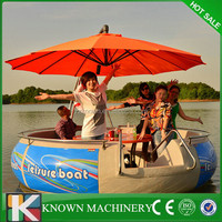 Leisure bbq donut boat fiberglass boat,commercial BBQ party boat for water park
