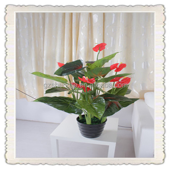 artificial red flower plants cheap artificial flower potted plant made in China