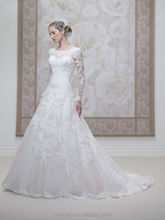 White Satin A-line Long Sleeve Lace Wedding Dress 2016