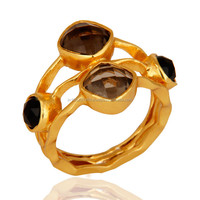 14K Yellow Gols Plated Smoky & Black Onyx Ring, 925 Sterling Silver Gemstone Ring Jewelry
