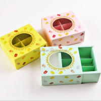6 Macarons chocolate biscuit cake box Macarons boxes- Pink-Green-Yellow