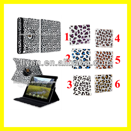 clip figure leopard pattern desgin 360 degree rotating case for ipad 4 ipad 3 ipad 2 leather material smart cover with magnetic