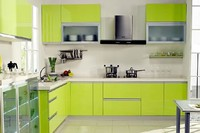 Kitchen cabinet with acrylic door panel