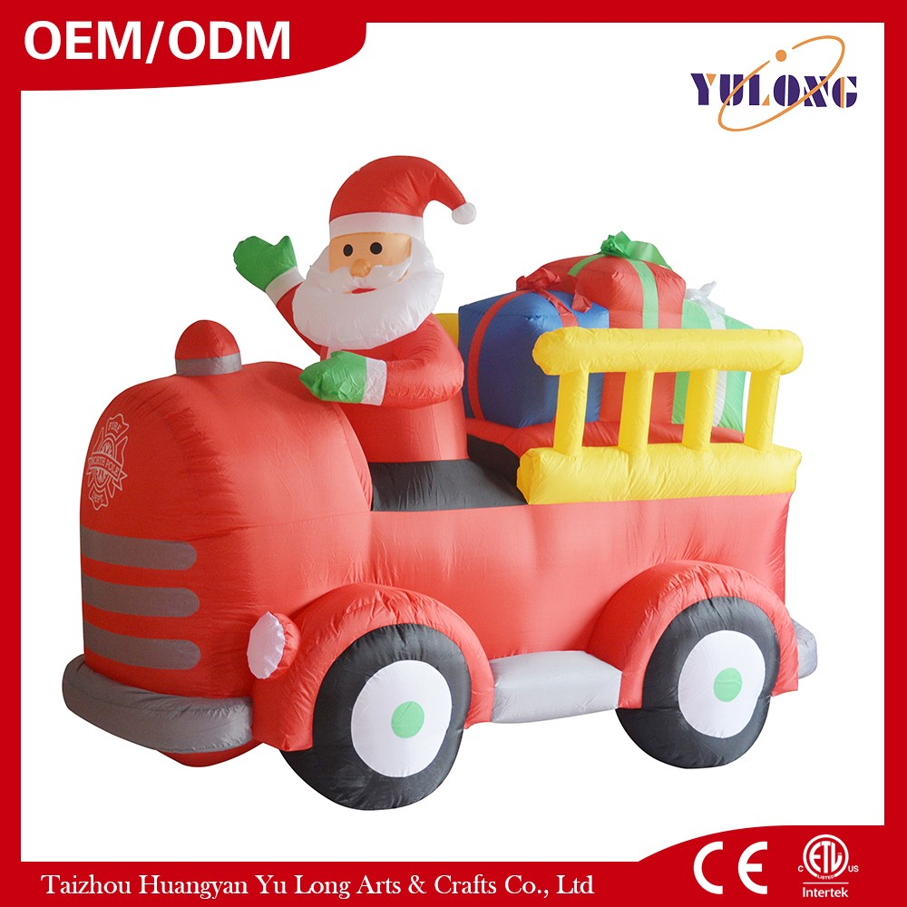 Santa Claus drove the train to the present holographic projector laser christmas outdoor