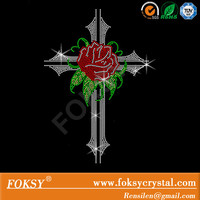 Bling rose or tribal cross rhinestone iron on transfer hot fix motif