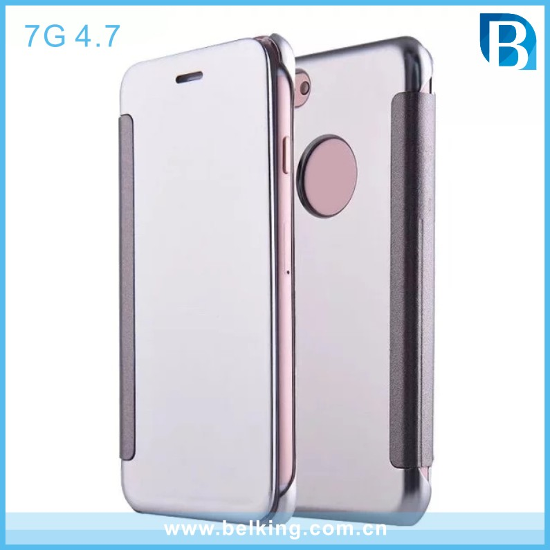 Flip Plastic Electroplated Mirror PC Case For iPhone7, Hard Shell Phone Case For iPhone7