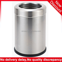 New products hotel room with rubber ring round brushed stainless steel waste bin, trash can manufacturer