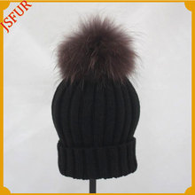 Wool Hand Made Raccoon Fur Bobble Knitted Crochet Hat