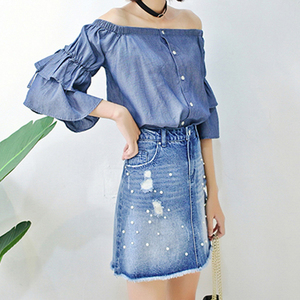 Spring women off-shoulder dark blue bat wing long sleeve tops blouses