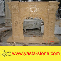 On Sale Polished Natural Yellow Marble Fireplace