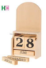 Fashion hot sales hand craft kids gifts wholesale desktop wooden stand decoration wood perpetual calendar